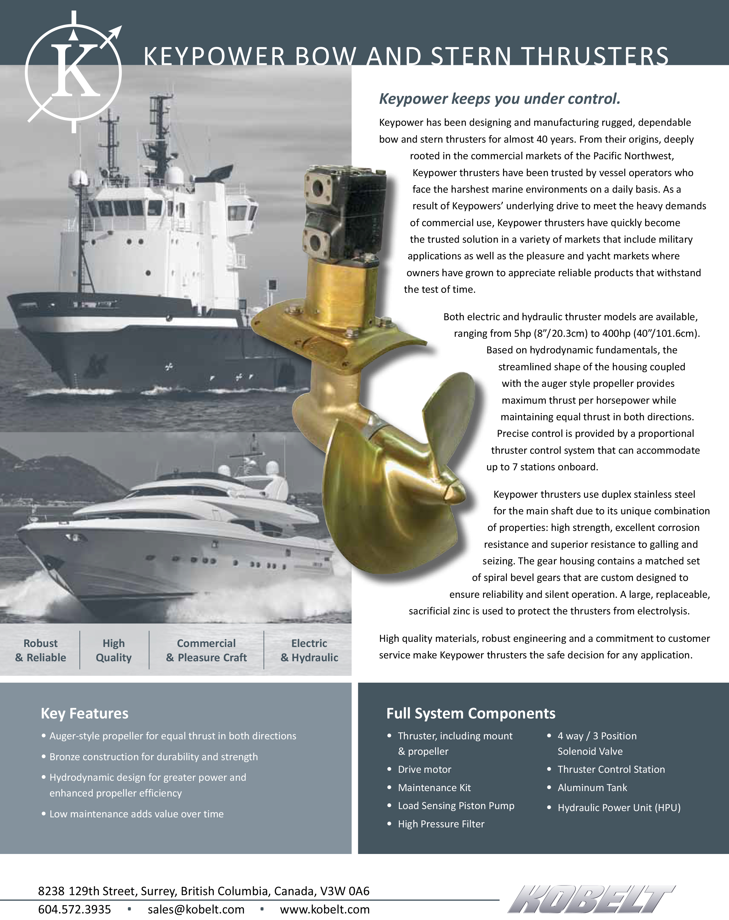 KeyPower Bow and Stern Thrusters Key Features and Components